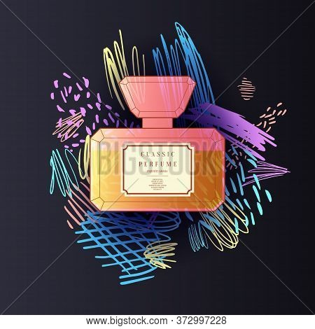 A Perfume Bottle With A Doodle Pattern. Bright Modern Poster For Advertising And Sale Fragrance.