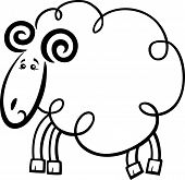 Illustration of Cute Ram or Sheep Farm Animal Cartoon Character for Coloring Book or Page poster