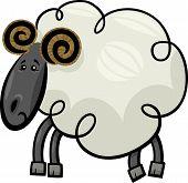 Illustration of Cute Ram or Sheep Farm Animal Cartoon Character poster