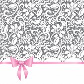 Vector template for wedding invitation or greeting card with lace background and pink ribbon poster