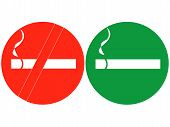 Smoke and Don't smoke signs vector illustration on white background poster