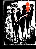 Humans in black on grunge background vector illustration poster