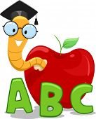 Illustration of a Nerdy Worm Wearing a Graduation Cap Crawling Out of an Apple poster