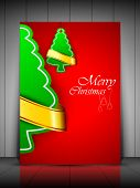 Green Xmas tree with golden ribbon on red background, greeting or gift card for Merry Christmas. EPS 10. poster
