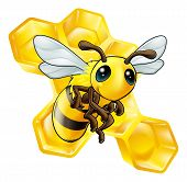 An illustration of a smiling cartoon bee with honeycomb poster