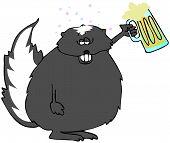 This illustration depicts a drunk skunk holding up a mug of beer. poster