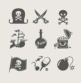 pirates accessory set of icon vector illustration poster
