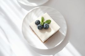Piece Of Delicious No Bake Cheesecake With Fresh Blueberry, Selective Focus, Traditional Homemade Ch