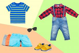 Collage Set Of Little Boy Summer Clothes On A Colorful Bright Background. The Collection Of Three Su