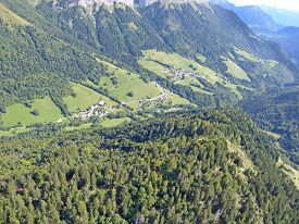 Aerial View Of Villages In The French Alps