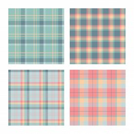 Set Of Seamless Lumberjack Plaid Patterns, Tartan Vector Patterned Texture. For Design, Background,