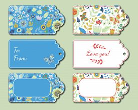 Floral Present Tags. Holiday Gift Cards For Romantic Evening, Bouquet, Candies, Toys. Romance Decora