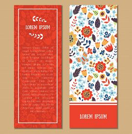 Floral Patterned Card Set With Frame For Text. Flyers For Business, Shop, Party, Invitation, Present