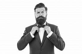 Man In Suit Fixing Bow Tie. Portrait Of Handsome Man In Suit. He Will Melt Your Heart. Man In Tuxedo