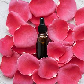 A Dropper With Natural Essential Oil On Red Rose Petals.