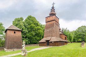 Potoky,slovakia - June 9,2020 - View At The Wooden Church Of St.paraskeva In Village Potoky. The Tem