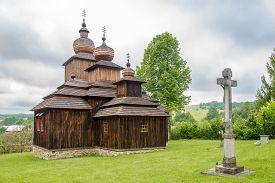 Dobroslava,slovakia - June 9,2020 - View At The Wooden Church Of St.paraskeva In Village Dobroslava.