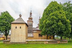 View At The Wooden Church Of Saint Michael Archangel In Village Ladomirova - Slovakia
