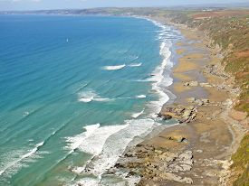 Aerial View Of Whitsand Bay In Cornwall