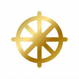Dharma Chakra Symbol Isolated Buddhism Golden Sign