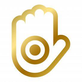 Ahinsa Hand Symbol Isolated Religious Sign Jainism
