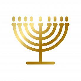 Menorah Symbol Isolated Gold Judaism Religion Sign