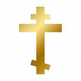 Orthodox Cross Symbol Isolated Christ Church Sign
