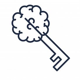 Creative Brain Sign With Key And Slogan Copy Space