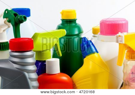 poster of Brightly colored plastic bottles with tops - detergent to poison