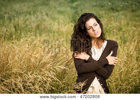 Sad Woman Walking In Nature