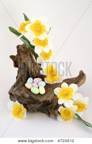 Driftwood Easter Nest With Flowers