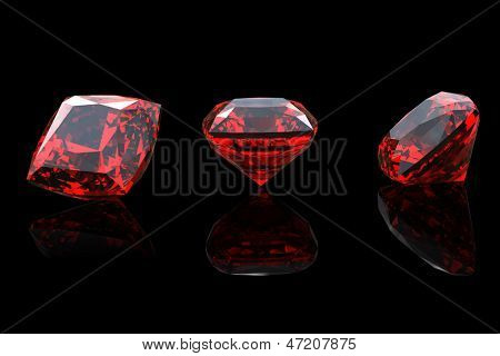 Jewelry gems shape of square on black background. Ruby