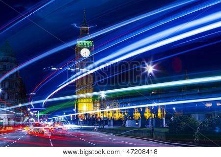 Speed motion at night London, blue light - London City Street Abstract Light