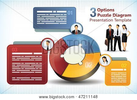 Three sided puzzle presentation template with additional elements for brochure designs of info charts
