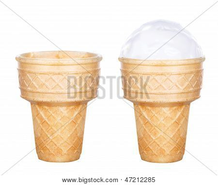 Tasty Ice Cream Scoop In Cone Isolated