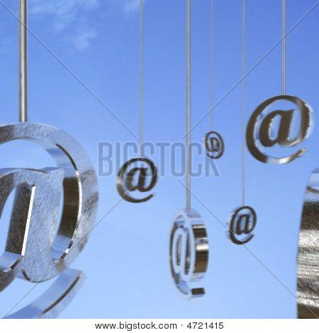 Metal Email Symbols In Air
