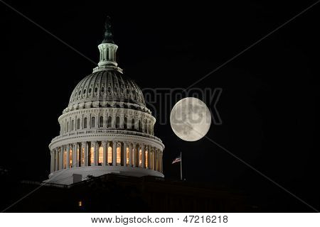 Capitol Building dome detail an full moon at night, Washington DC - United States