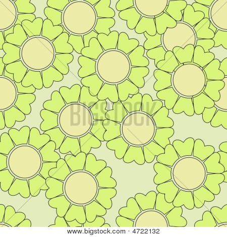 Green Retro Flowers