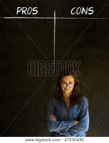 Businesswoman, Student Or Teacher Pros And Cons Decision List