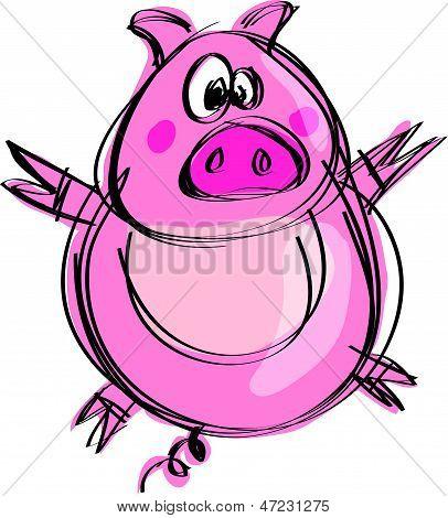 Cartoon Naif Baby Pig In A Naif Childish Drawing Style