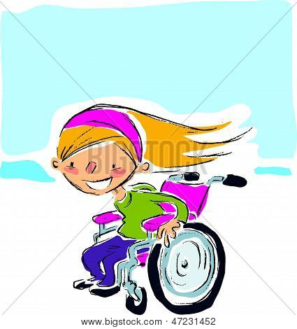 Happy Cartoon Smiling Blonde Girl In Magenta Wheelchair Moving Fast