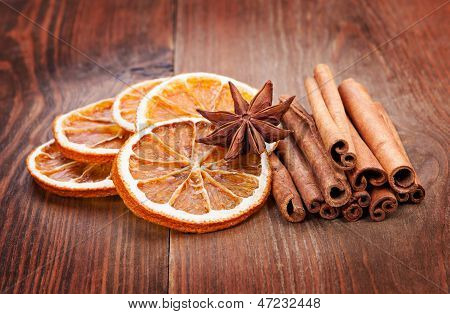 Sliced Of Dried Orange, Anis And Cinnamon