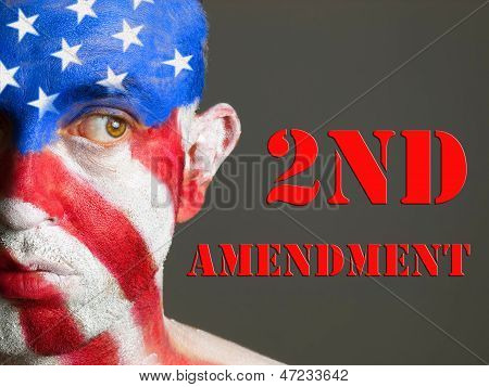 Man Face Flag Usa, 2Nd Amendment And Expression.