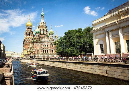 ST.PETERSBURG, RUSSIA - JUNE 22: The Church of the Savior on Spilled Blood is one of the main sights of St.Petersburg, June 22, 2013, St. Petersburg, Russia. Church was built in 1883-1907.