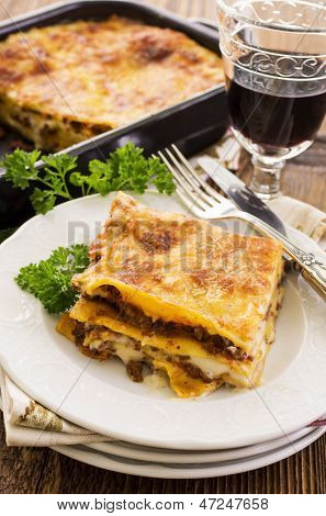 lasagne with ground meat poster