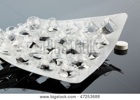 tablets in blister pack, photo icon for health, medicine and pill addiction