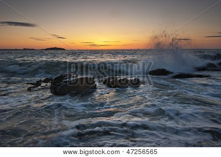 Rolling Waves At Sunrise