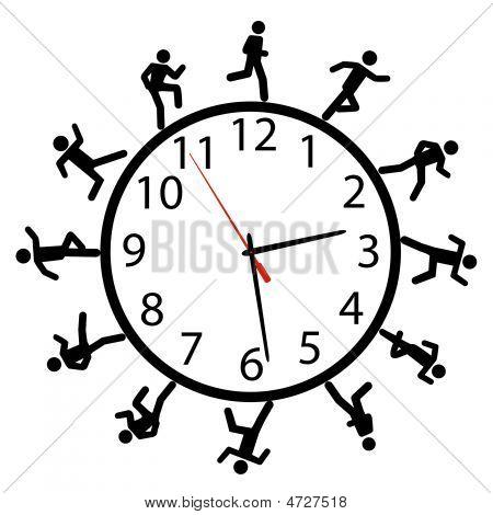 Symbol People Run A Race Around The Time Clock