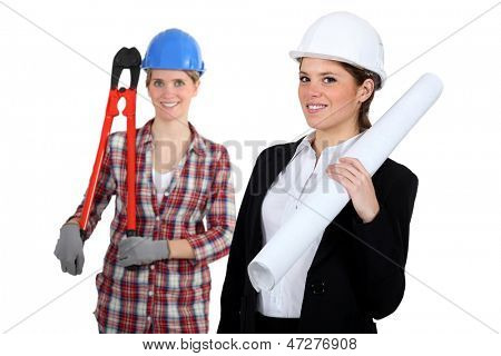 A tradeswoman and an engineer working together