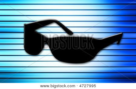 black sunglasses on blue background. abstract illustration poster
